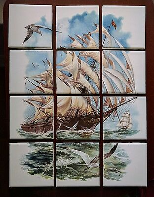 "Wenczel Painted Tile Ship Scene 12 Pieces 4 3/8"" Square Vintage Nautical Boat"