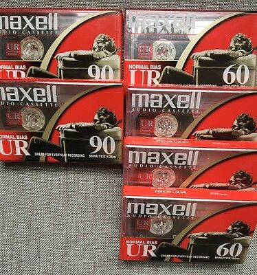 Lot of 6 New Maxell UR 90 & UR 60 Audio Recording Cassette Tapes Normal Bias