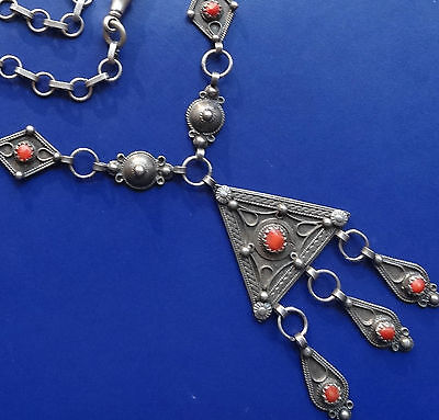 antique SILVER & CORAL Berber flower pendant fancy chain necklace -C874