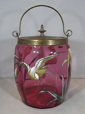 Antique Late Victorian Painted Cranberry Glass Biscuit Barrel Jar Birds Flowers
