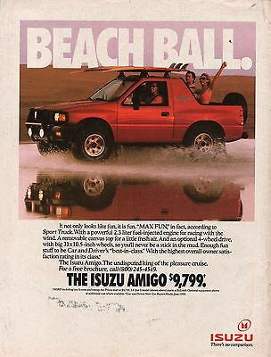 1991 Isuzu Amigo Red Max Fun Driving Through The Water Print Ad