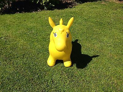 Yellow Kids Animal Space Hopper, Happy Inflatable Horse Fun Bouncy Play Toys