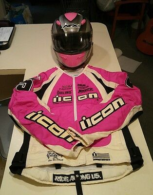 ICON Womens Riding Jacket size M AFX womens Helmet M Combo Deal