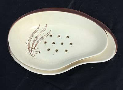Carlton Ware1950's Windswept Salad -horsd'oeuvres dishes Brown & Cream