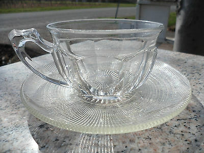 Vintage Clear Pressed Glass Coffee Tea Cup & Saucer