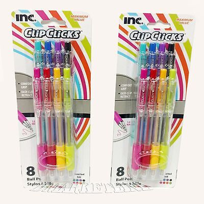 16 pens Inc Clip clicks Ball point Pen 1.0 mm, Assorted ink, 2 Packs of 8 colors