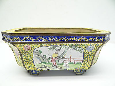 Antique Old Cloisonné Signed China Chinese Yellow Lady Figure Planter Flower Pot