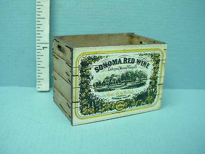 Dollhouse Miniature Tall Assembled Crate Sonoma Red Wine Laser Creations