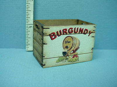 Dollhouse Miniature Tall Assembled Crate Burgundy Wine Laser Creations
