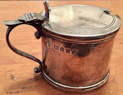 Antique Sterling Silver Drum Shape Mustard Pot + Cobalt Blue Liner 4oz 1935