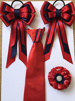 childs equestrian showing set - show tie bows Buttonhole RED And NAVY lead Rein