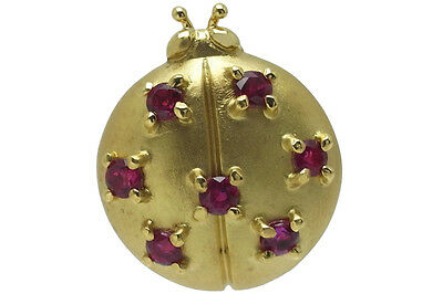 Mikimoto ruby pin brooch K18YG 0.32ct 2.8g Authentic carved seal japan gold fine