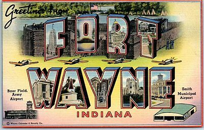 FORT WAYNE Indiana Large Letter Postcard Baer Field Smith Airport WWII Linen