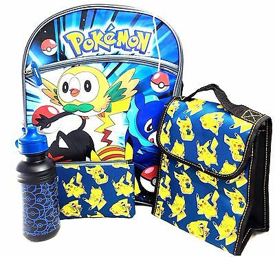 "Pokemon Pikachu 16"" Large Backpack With Lunch Bag-Case-Water Bottle"