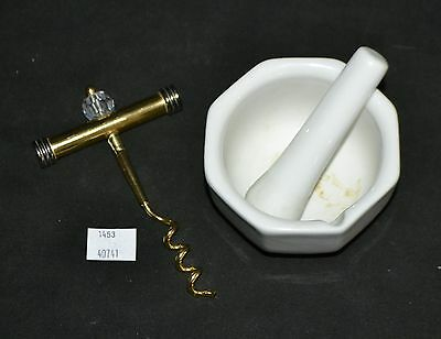 ThriftCHI ~ HIC Japan Ceramic Mortar & Pestle, Gold Finish Cork Screw Hong Kong
