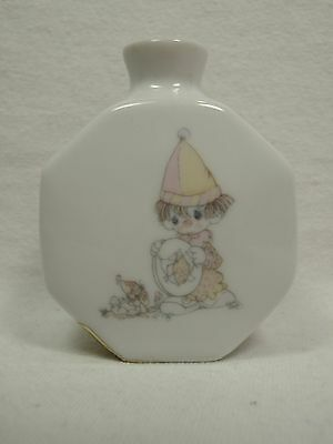 1985 Precious Moments Look Before We Leap Clown w/ Dog Bottle / Bud Vase Enesco