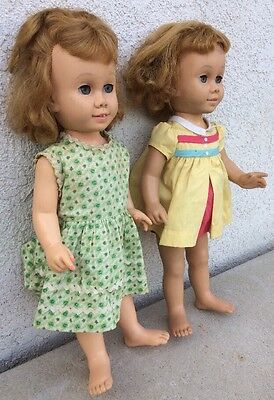Chatty Cathy vintage Lot Of Two with 1 original outfit Mattel 60s