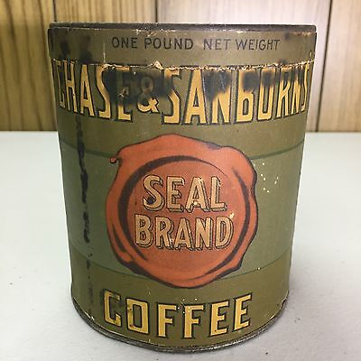 Vintage Chase & Sanborn's Seal Brand Coffee Advertising Tin One Pound NICE!!
