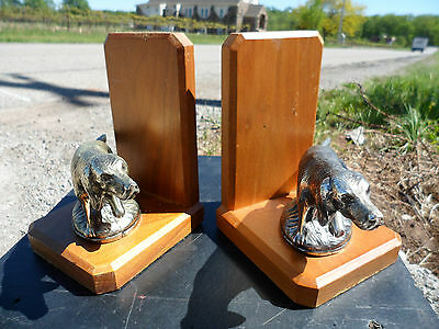 Vintage English Springer Spaniel Dog Wood Wall Art Book Ends Horizon Canada