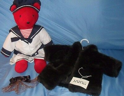 Vintage North American Bear Co. Red Bear Sailor Outfit Lauren Bearcall Fur Coat