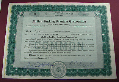 #480 - old 1955 MULLEN BUCKLEY URANIUM CORP / RACHEL, NEVADA stock certificate