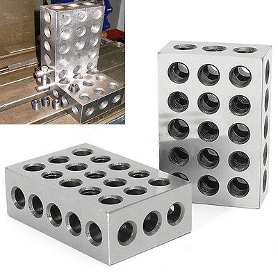 One Pair 1-2-3 123 Block Set Precision Matched Mill Milling Machinist 23 Holes