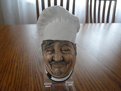 Vintage Chalkware Bossons Style Head Bust Of Chef Wall Hanging