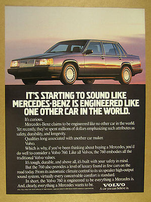 1990 Volvo 760 Sedan compared to Mercedes-Benz car photo vintage print Ad