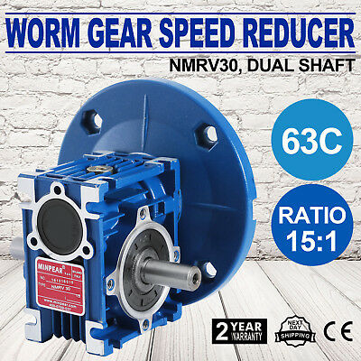 Worm Gear 15:1 63C Speed Reducer Gearbox Dual Output Shaft Durable 0.38HP Unique