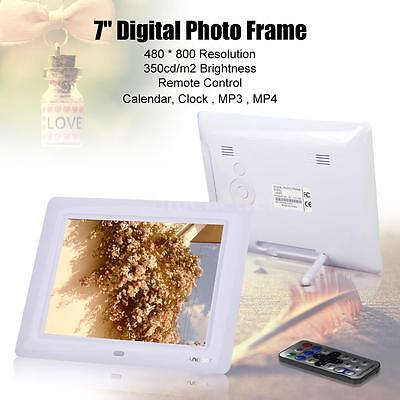 "7"" Full HD White Digital Photo Frame Picture + Clock Movie Player+Remote Contorl"