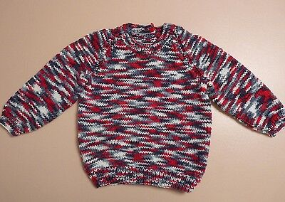 New Toddler Child Hand Knitted Jumper Size 2-3 Approx Crew Neck Raglan Sleeve