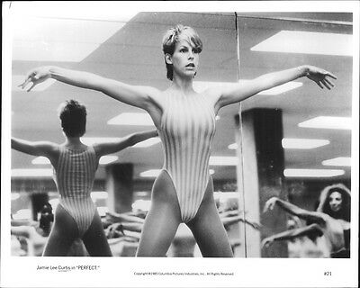 "Vintage photo of Actress Jamie Lee Curtis in a scene from the movie ""Perfect""."