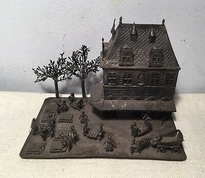 Dutch Antique 19th Century Sterling Silver Magnificent Town Large Miniature