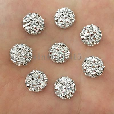 40pcs 12mm Resin Round Flatback Rhinestone Wedding buttons gem accessorie/silver
