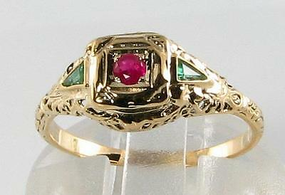 Dainty Combo 9Ct Gold Colombian Emerald & Ruby Filigree Ring Free Resize