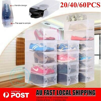 20/40/60pcs Transparent Clear Plastic Shoe Storage Box Foldable Stackable Boxes