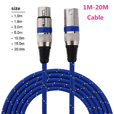 1M-20M XLR 3Pin Male to Female Microphone Audio Shielded Extension Cable Cord DY