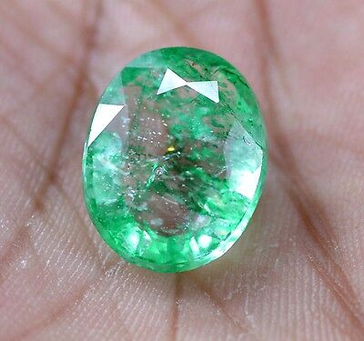 Natural 11.70 Ct EGL Certified Green Emerald  Gemstone~{ Great Deal}~CD4220