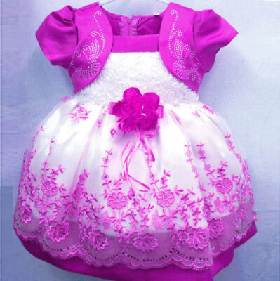 Kids Girl Toddler Baby Flower Princess Party Pageant Wedding Dresses Rose 0-4T