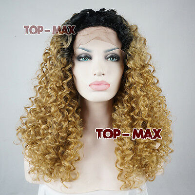 Brown Mix Black 18'' Curly Women Lady Lace Front Short Heat Resistant Wigs