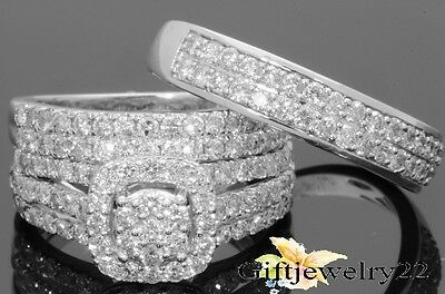 10K White Gold Engagement Wedding Band His & Her Trio Ring Set 2.36 CT Diamond