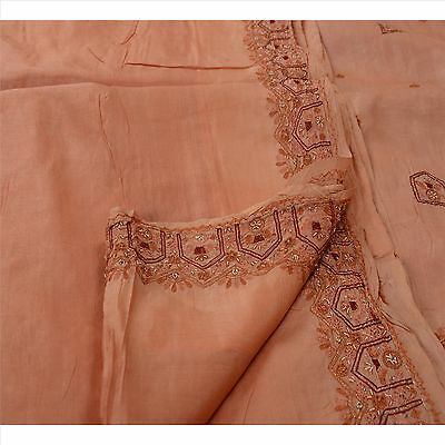 Sanskriti Vintage Indian Saree 100% Pure Silk Hand Beaded Craft Fabric Sari