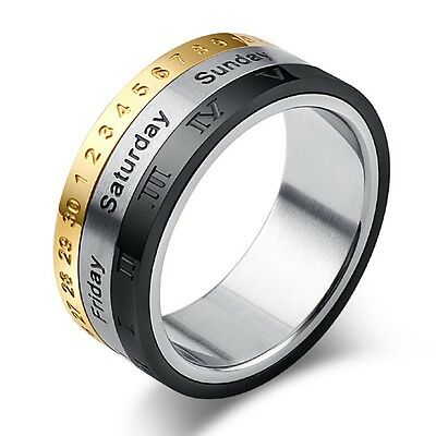 Men 8mm Titanium Steel Tricolor Calendar Time Engagement Party Ring Jewelry GYTH