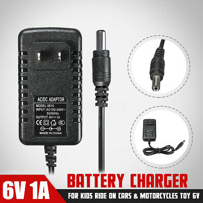 1x AC Adapter 6V 1A Battery Charger For Kids Ride On Cars Quad Motorcycles Toy