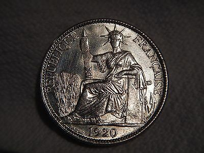 1920 French Indochina Silver 20 Cents