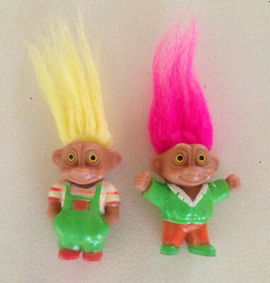Vintage 1992 Soma Good Luck Lucky Troll Doll Dolls x 2 Pink Yellow Hair Stamped