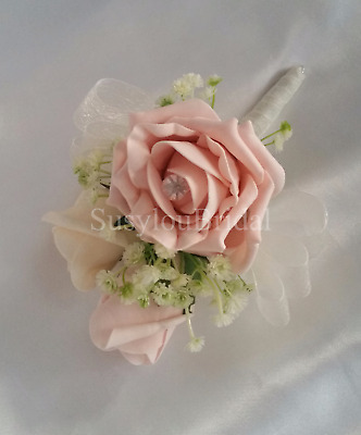 Vintage Peach Rose Pin Corsage Wedding Flowers Bridal Wedding Gypsophila
