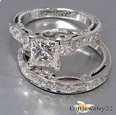D/VVS1 Diamond Engagement Ring Wedding Band Round Bridal Set 10K White Gold Over