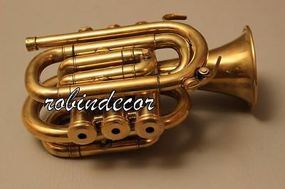 AAA Quality Gold Lacquer Pocket Trumpet Cornet Large bell Horn