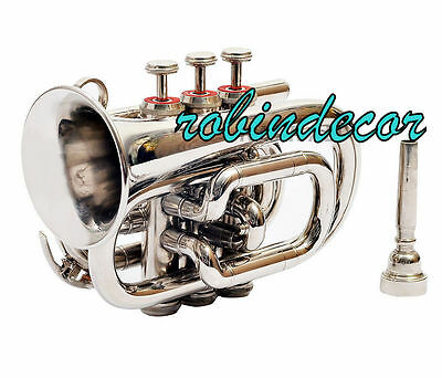 AAA Quality Gold Lacquer Pocket Trumpet Cornet Nekel Large bell Horn